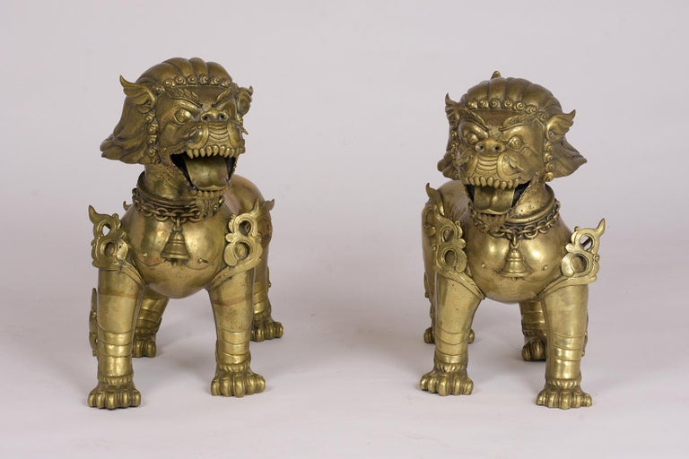 Chinese Export Pair of Chinese Standing Foo Dogs For Sale