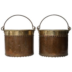 Set of Two 19th Century Dutch Copper and Brass Riveted Buckets with Zinc Insert