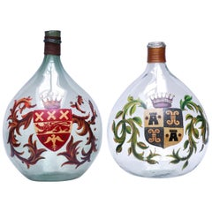 Set of Two 19th Century Large Handblown Demijohns with Painted Coat of Arms