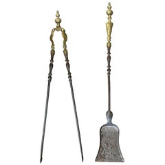 Set of Two 19th Century Steel and Brass Fire Tools, Shovel and Tongs