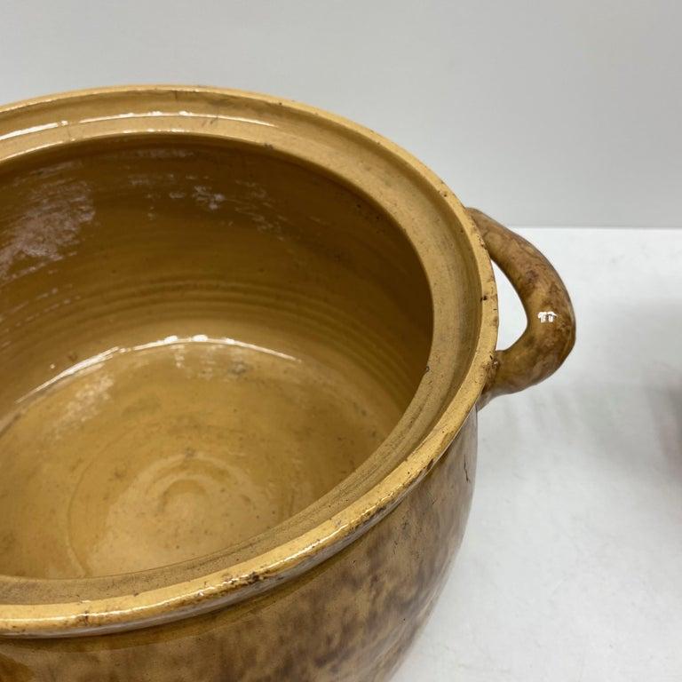 Italian Set of Two 19th Century Tuscany Earthenware Stoneware Pots Crocks, Italy For Sale