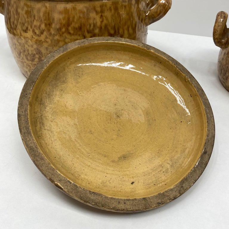 Hand-Crafted Set of Two 19th Century Tuscany Earthenware Stoneware Pots Crocks, Italy For Sale