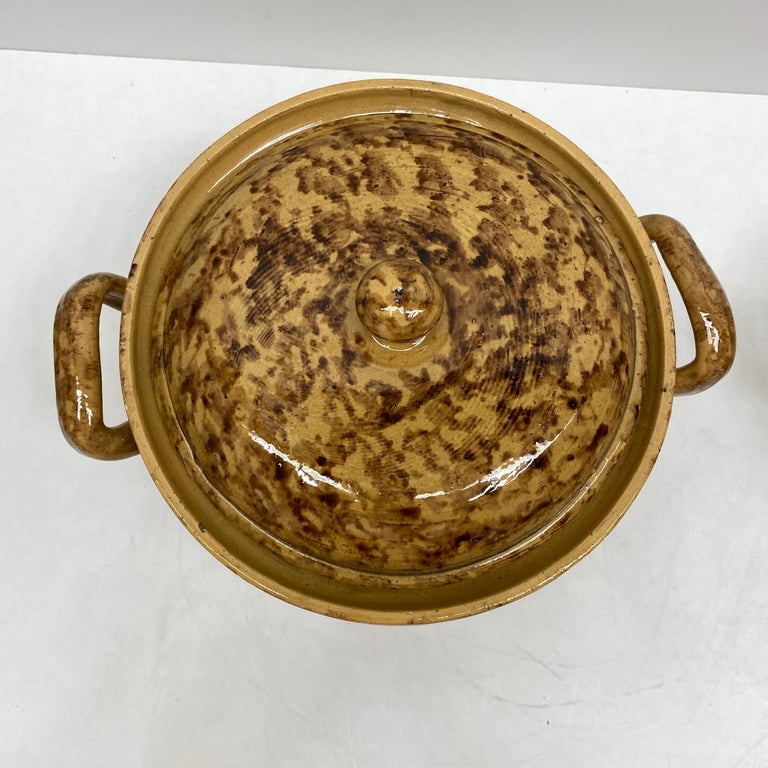 Set of Two 19th Century Tuscany Earthenware Stoneware Pots Crocks, Italy In Good Condition For Sale In Nürnberg, DE