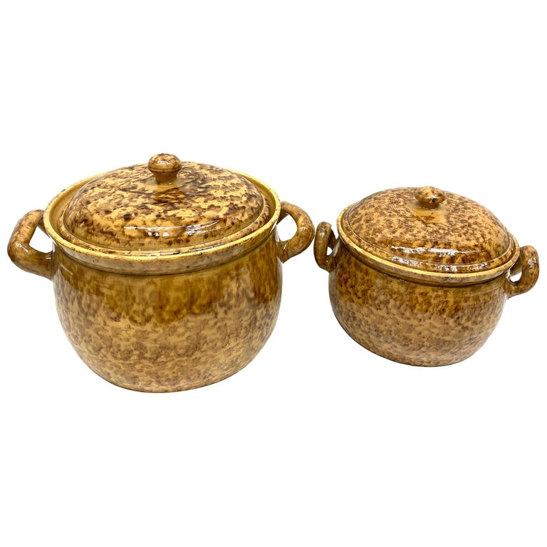 Set of Two 19th Century Tuscany Earthenware Stoneware Pots Crocks, Italy For Sale