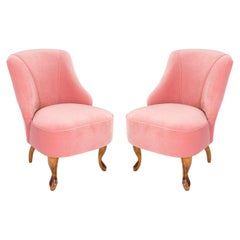 Set of Two 20th Century Art Deco Baby Pink Armchairs, 1950s