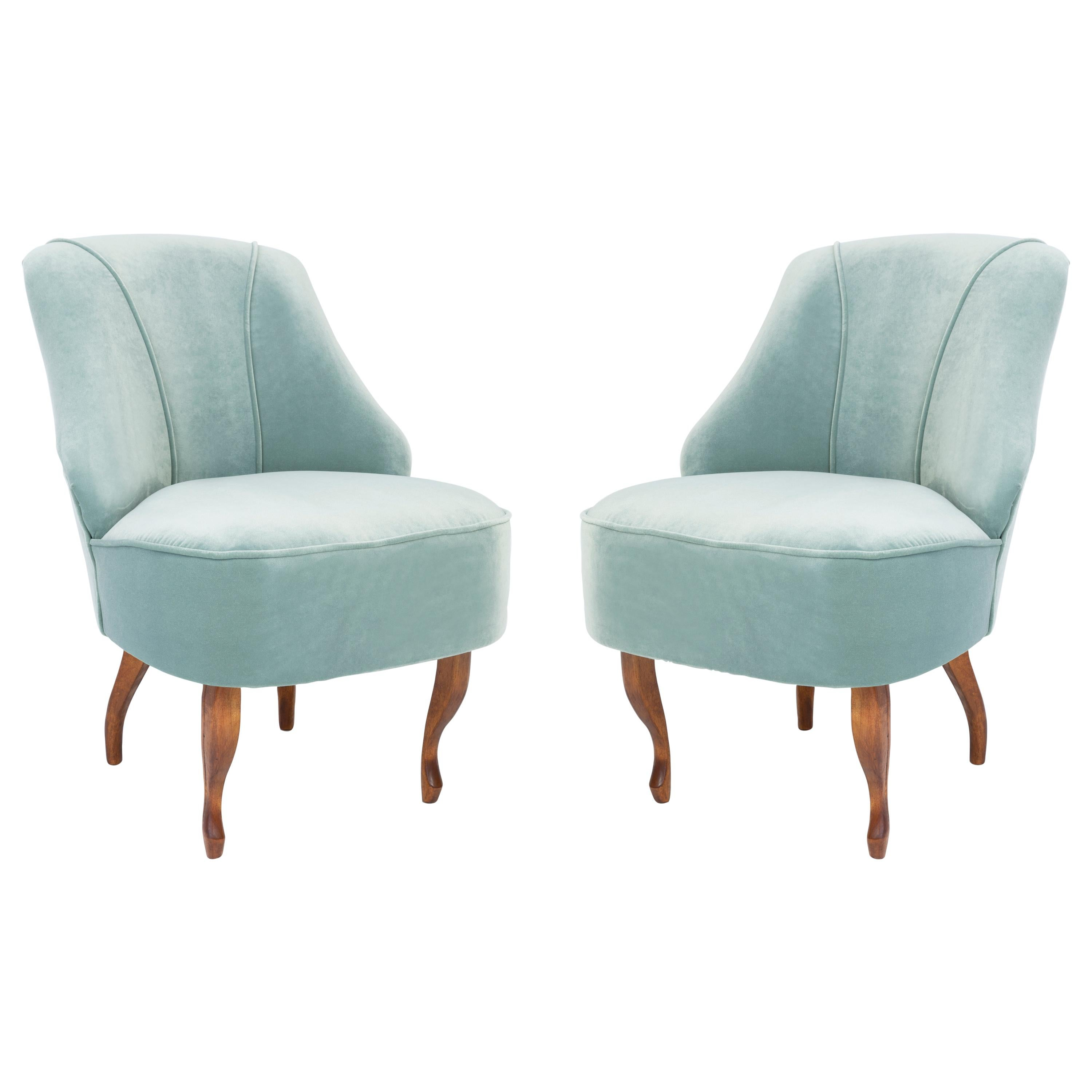 Set of Two 20th Century Art Deco Mint Armchairs, Germany, 1950s