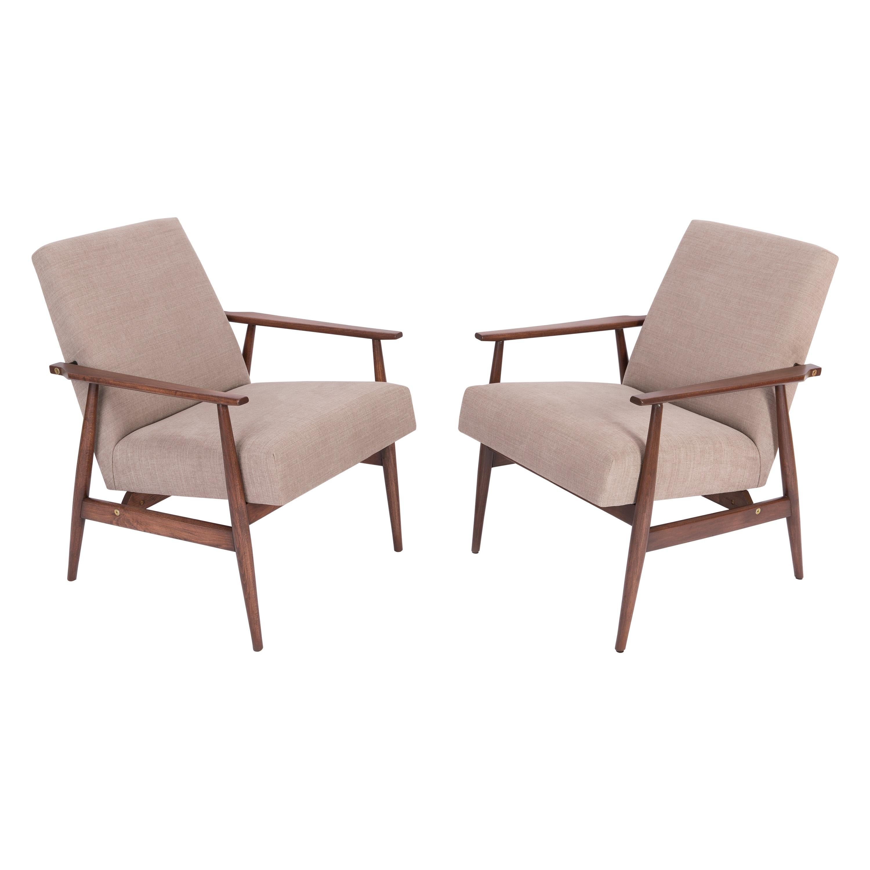 Set of Two 20th Century Beige Dante Armchairs, H. Lis, 1960s