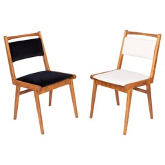 Set of Two 20th Century Black and White Velvet Chairs, Poland, 1960s