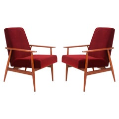Set of Two 20th Century Burgundy Dark Red Dante Armchairs, H. Lis, 1960s
