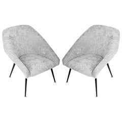 "Set of Two 20th Century Gray ""Eva"" Club Armchairs, 1960s"