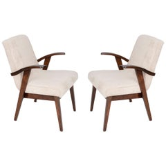 Set of Two 20th Century Light Cream Armchairs by Mieczyslaw Puchala, 1960s