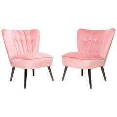 Set of Two 20th Century Pink Velvet Club Armchairs, Germany, 1960s