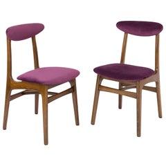 Set of Two 20th Century Plum Velvet Rajmund Halas Chairs, 1960s