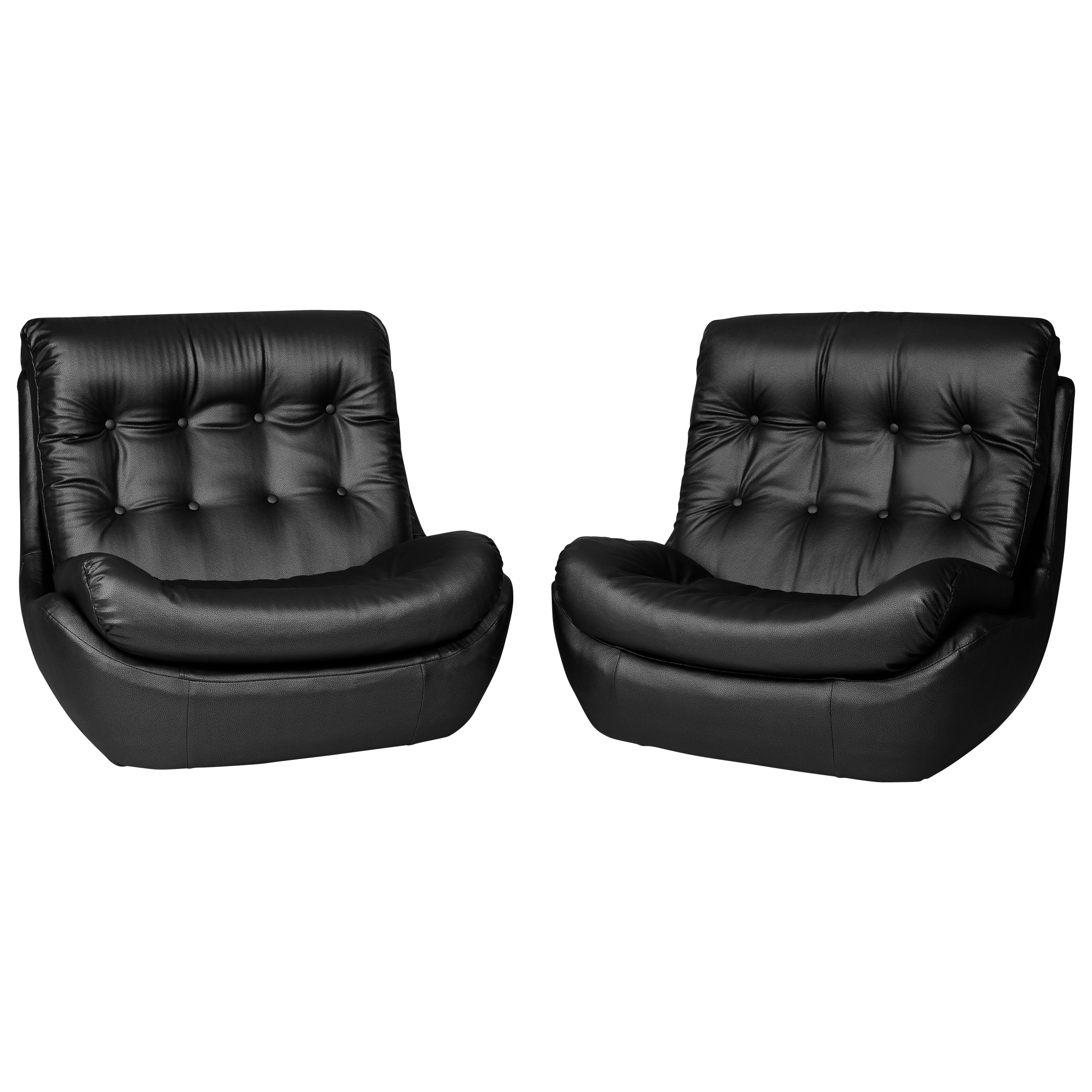 Set of Two 20th Century Vintage Black Faux Leather Atlantis Armchairs, 1960s