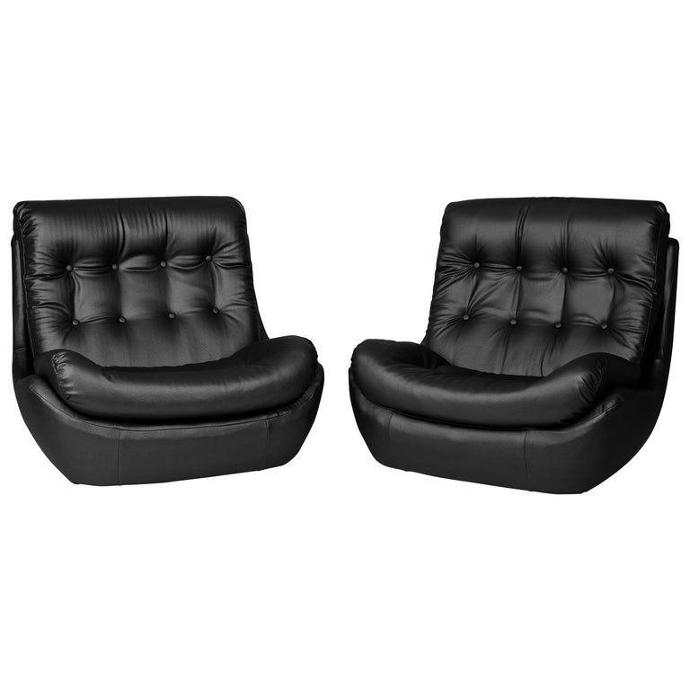 Set of Two 20th Century Vintage Black Faux Leather Atlantis Armchairs, 1960s For Sale