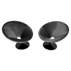 Set of Two 20th Century Vintage Black Velvet Swivel Armchairs, 1960s
