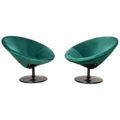 Set of Two 20th Century Vintage Dark Green Swivel Armchairs, 1960s