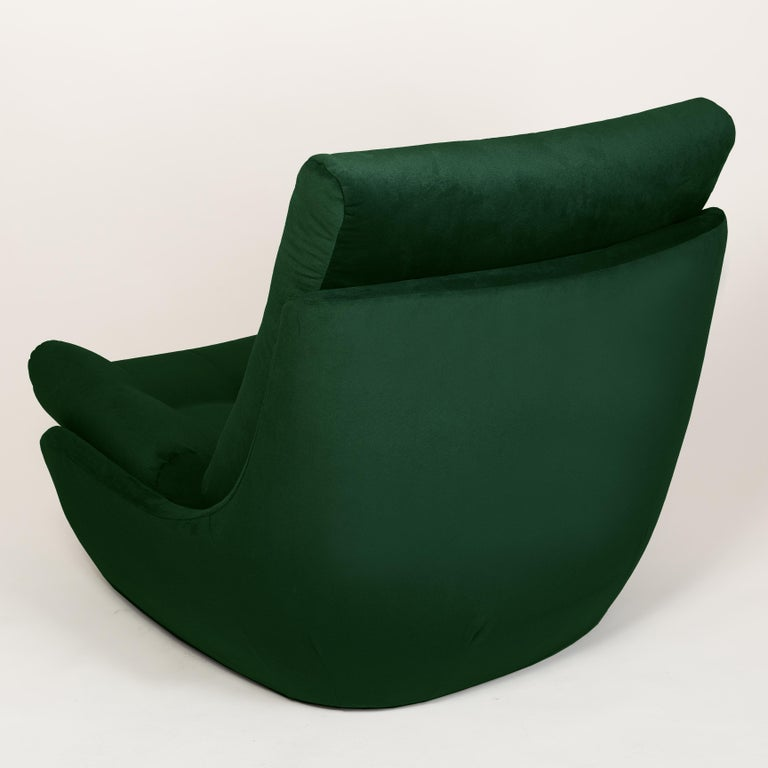 Hand-Crafted Set of Two 20th Century Vintage Green Velvet Giant Atlantis Armchairs, 1960s For Sale