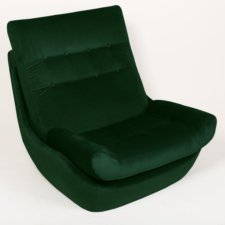 Set of Two 20th Century Vintage Green Velvet Giant Atlantis Armchairs, 1960s For Sale 1