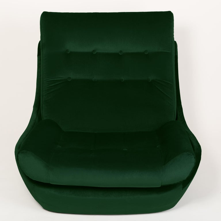 Set of Two 20th Century Vintage Green Velvet Giant Atlantis Armchairs, 1960s For Sale 2