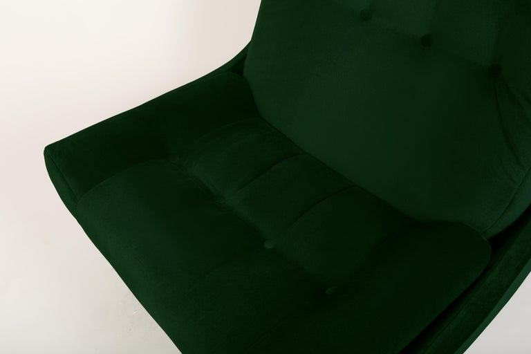 Set of Two 20th Century Vintage Green Velvet Giant Atlantis Armchairs, 1960s For Sale 3