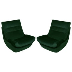 Set of Two 20th Century Vintage Green Velvet Giant Atlantis Armchairs, 1960s