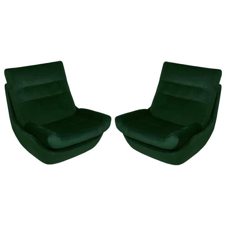 Set of Two 20th Century Vintage Green Velvet Giant Atlantis Armchairs, 1960s For Sale