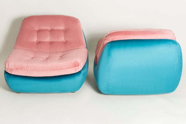 Set of Two 20th Century Vintage Pink and Blue Atlantis Armchairs, 1960s In Excellent Condition For Sale In 05-080 Hornowek, PL