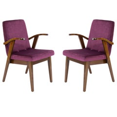 Set of Two 20th Century Vintage Plum Violet Armchair by Mieczyslaw Puchala 1960s