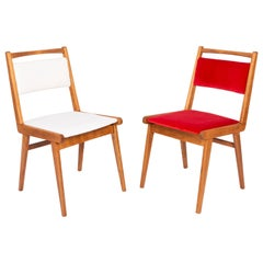 Set of Two 20th Century White and Red Velvet Chairs, Poland, 1960s