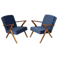 Set of Two 20th Century Zet Armchairs, Navy Velvet, 1970s, Poland