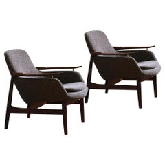 Set of Two 53 Chairs in Fabric and Wood by Finn Juhl
