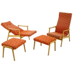 Set of Two Adjustable Armchairs with Footstools, Thon, 1970