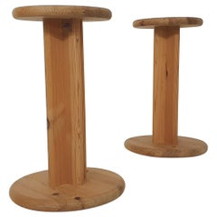 Set of Two Aksel Kjersgaard Pinewood Stools or Plant Stands, Denmark, 1970's