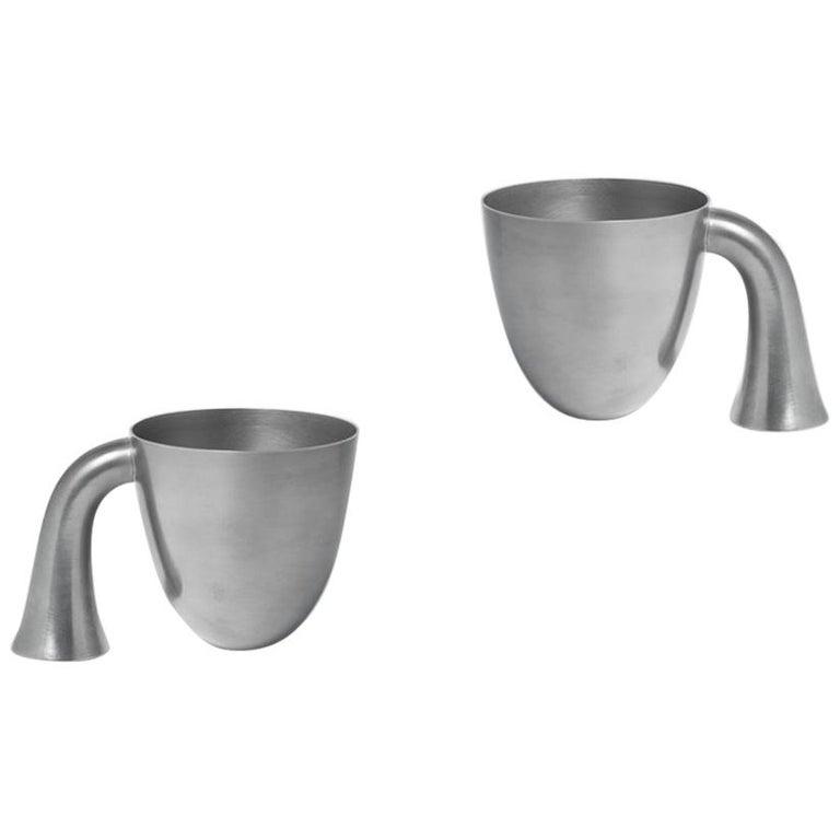 Set of Two Aldo Bakker Tin Vessel 'Support' by Karakter For Sale