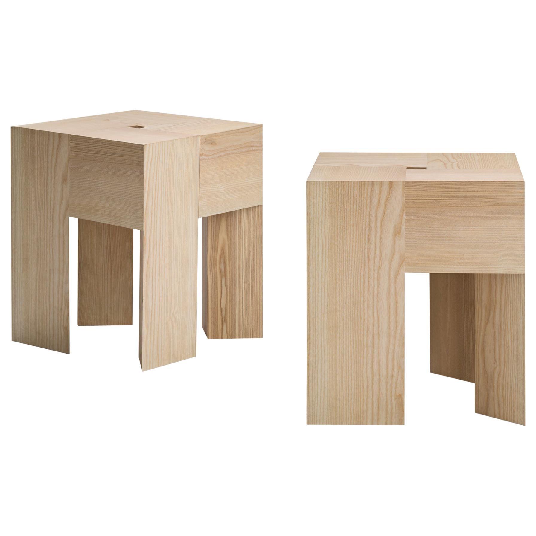 Set of Two Aldo Bakker 'Triangle' Wood Stools or Side Table