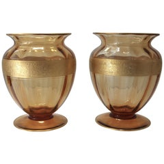 Set of Two Amber Colored Vases by Moser Glassworks