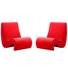 Set of Two Amoebe Chair in Foam and Fabric by Verner Panton