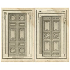 Set of Two Antique Archicture Prints of Portico Designs by Neufforge, circa 1770