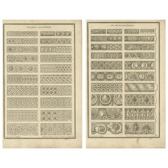 Set of Two Antique Architecture Prints of Various Ornaments by Neufforge