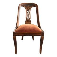 Set of Two Antique Empire Mahogany Gondola Chairs