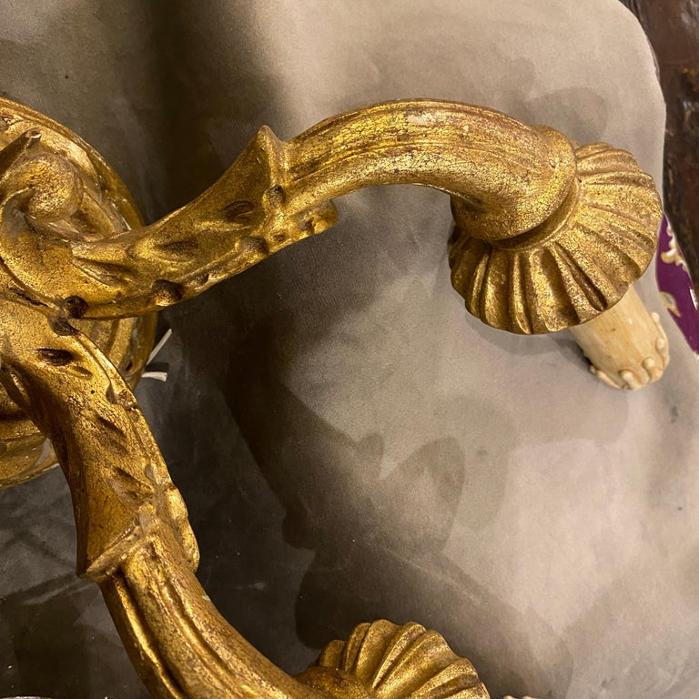 Set of Two Antique Giltwood Sicilian Wall Sconces, c.1900 For Sale 3