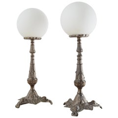 Set of Two Antique Metal Table Lamp