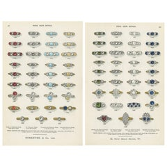Set of Two Antique Prints of Fine Gem Rings by Streeter, 1898