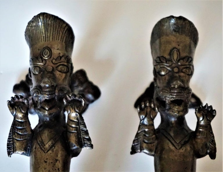 Nepalese Set of Two Antique Temple Heavy Bronze Door Handles, Nepal, 19th Century For Sale