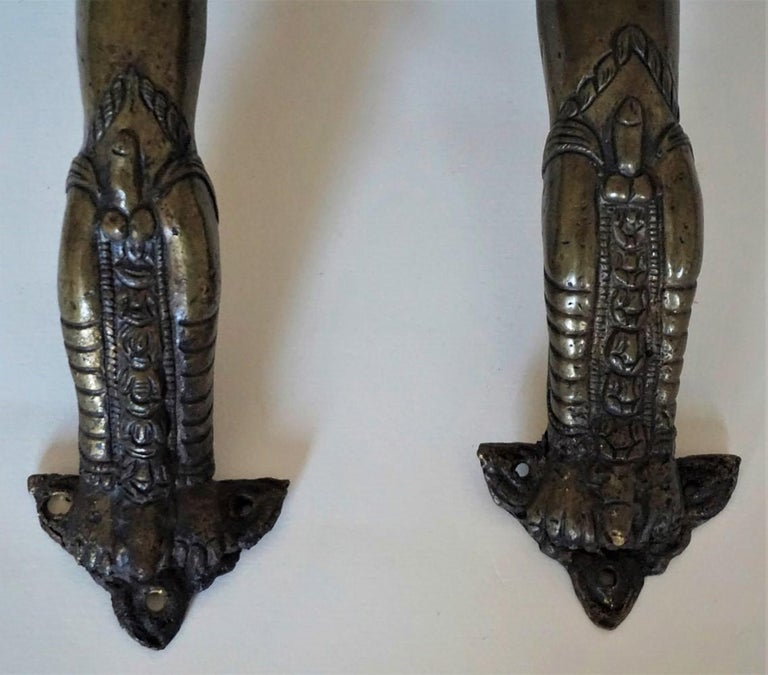 Hand-Crafted Set of Two Antique Temple Heavy Bronze Door Handles, Nepal, 19th Century For Sale