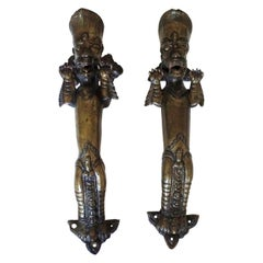 Set of Two Antique Temple Heavy Bronze Door Handles, Nepal, 19th Century