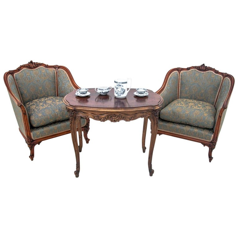 Set of Two Armchairs and Table, France, circa 1920 For Sale