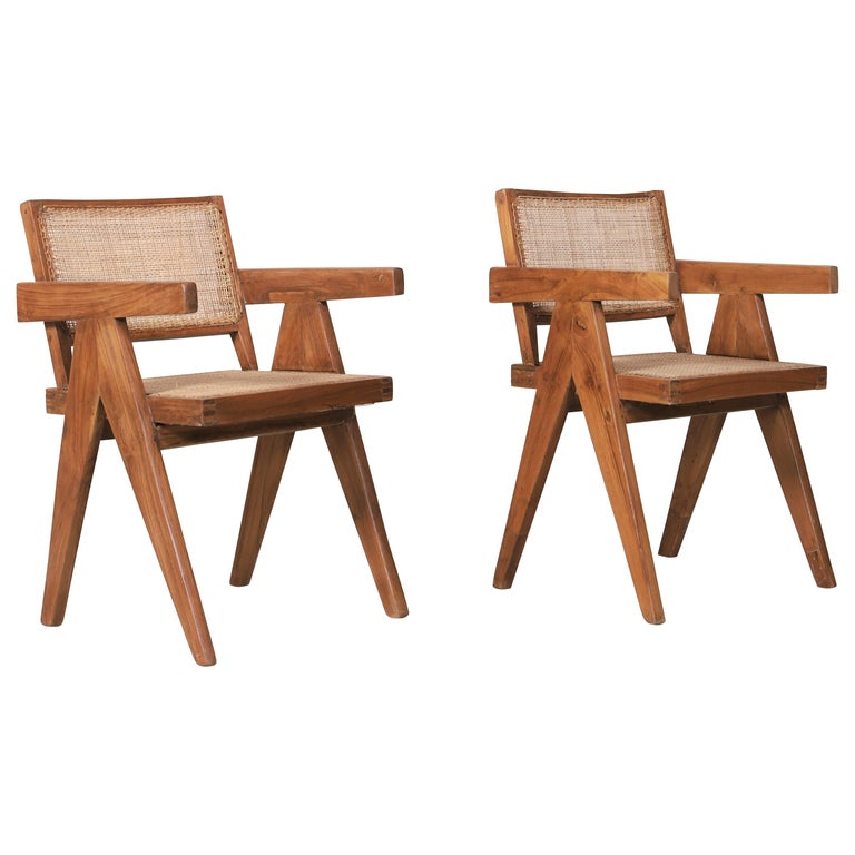 "Set of Two Armchairs Called ""Office Cane Chairs"" circa 1956 of Pierre Jeanneret For Sale"