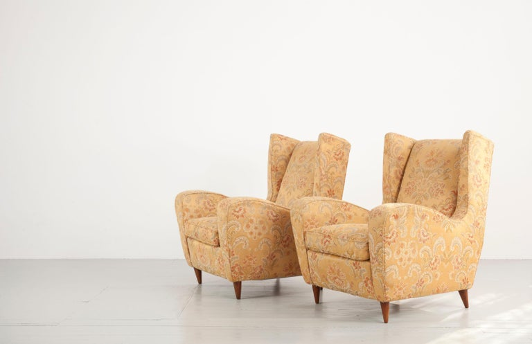 Mid-Century Modern Melchiorre Bega Set of Two Ornamental Armchairs, 1950s For Sale